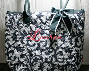 Monogrammed Quilted Damask Tote - Grey/White - A Great and Classy Bag for Everyday or for Your Bridesmaids!