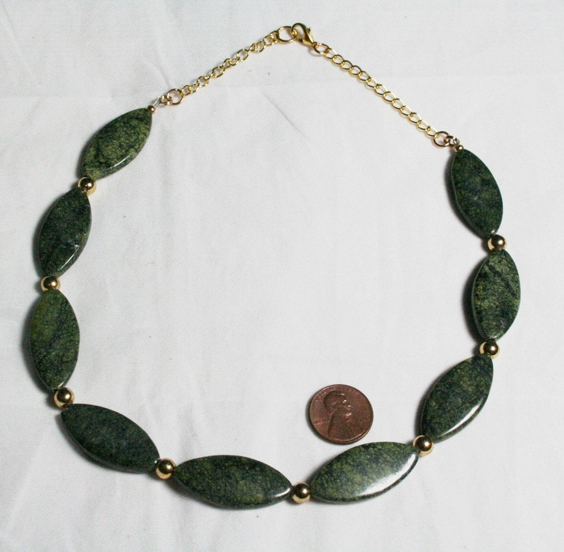 Green Necklace Serpentine Necklace Stone by JewelryByLadyM ...  Green Necklace ...