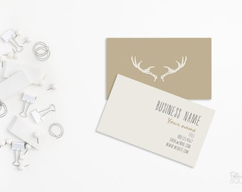 Printable Business card design 2 sided Custom business card front and back design Printable Antlers Beige and white Minimalist