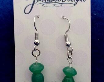 Short, green dangle earrings