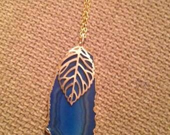 Teal Agate & Gold Leaf Necklace