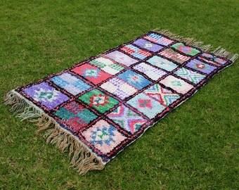 "82""X45"" Vintage Moroccan rug woven using different scraps of used textiles / boucherouite / boucherouette"