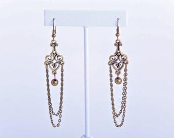 Golden Bronze metal earrings