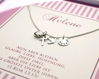 Sterling silver Christening necklace - faith love hope