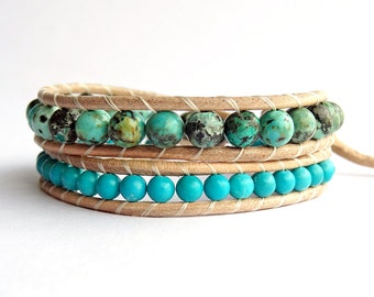 African Turquoise Jasper Wrap Bracelet, Leather and Bead Bracelet