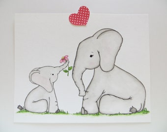 My Little Sweetheart, nursery decor, childrens painting, watercolor painting, elephant and baby, animal painting, nursery art, Mommy and Me