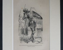 1880s Antique Medieval Knight Print from John Bunyan's 'Pilgrim's Progress' 19th century wood engraving, Victorian Christian artwork