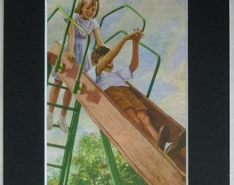 1960s Vintage Peter and Jane Print of the Children Playing on a Slide Retro children's Ladybird Book art, vintage playground decor