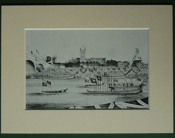 Vintage Print of the Celebrations to Commemorate the Opening of the New London Bridge in 1831 Historical London decor, River Thames art