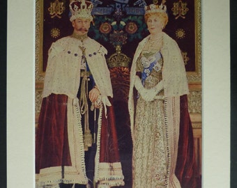 1930s Vintage Coronation Print of King George V and Queen Mary of Teck Historical British Royal Family portrait, antique royalty decor