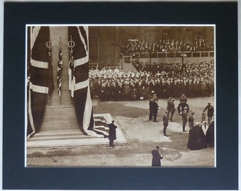 Vintage Historical Print, George V, Cenotaph on Armistace Day 1920 World War One Gift Remembrance Day art, sepia First World War photography