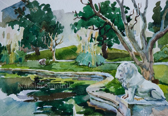 Old park with pond and lion sculpture digital download from original watercolor Istanbul classic landscape