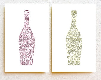 Wine bottles kitchen art print set of 2, modern minimalist typography prints, wine wall art, dining room bar kitchen decor, wedding gift