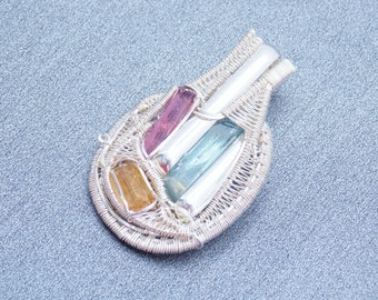 Aquamarine, Pink Tourmaline and Imperial Topaz Pendant, Sterling Silver Wire Wrap