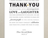 DIGITAL FILE - Custom Size Wedding Reception Thank You Card - Personalized - Wedding Signage - Digital, Print-Ready .PDF