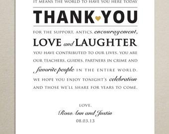 DIGITAL FILE - Custom Size Wedding Reception Thank You Card - Personalized - Wedding Signage - Digital, Print-Ready .PDF