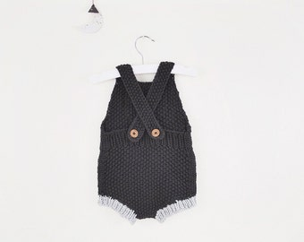 SALE / Rumi Sunsuit in Graphite// Hand Knit Baby Romper - Hand Knitted Organic Cotton Baby Onesie - Organic Baby Knitwear