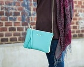 4 in 1 - Convertible Crossbody Purse / Dark Mint Vegan Leather and Cream Suede / Clutch Bag