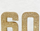 Glitter 60th Party Decoration Cardboard Numbers