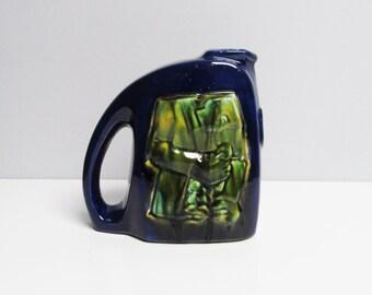 Vintage Coceram Boschmans modernist retro Ceramic pitcher vase, image en relief Belgium cubistic cubism art, blue green Height 7.1 in/18 cm