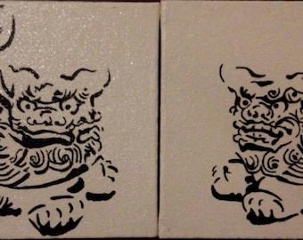 Okinawa Shisa Dogs hand painted