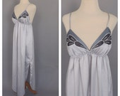Vintage 1970s Silver Gray Butterfly Natori Maxi Nightgown Long Slip Lingerie Glam Pin Up Boudoir Fashion Gown 70s Satin Dress Lingerie