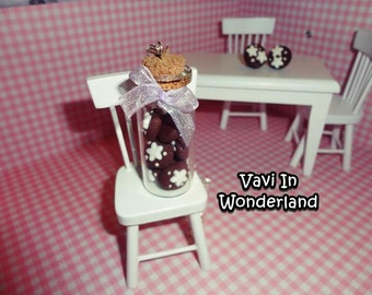 Necklace Glass Bottle with Pan di Stelle Cookies Polymer Clay Handmade
