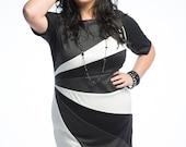 Plus Size Dress, Color Block Plus Size Knit Dress, Womens Dress, Black White and Grey Knit Dress, Ponte Knit Plus Size Dress