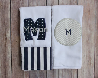Baby Boy Monogrammed Burp Cloth Set Navy and Grey - Personalized Monogrammed Boy Burp Cloth Set with Applique Initial and Monogram