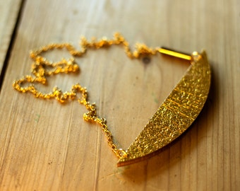 Crescent necklace gold/silver, small - or gold/green to turn