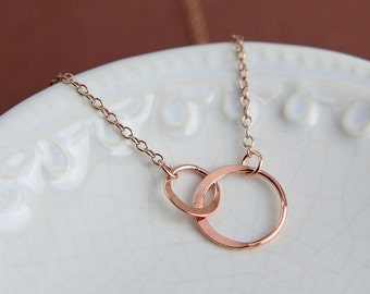 Eternity Necklace, Circle Necklace, Ring Necklace, Sisters Necklace, two Ring Necklace, Double Circle Necklace, Rose Gold Circle Necklace