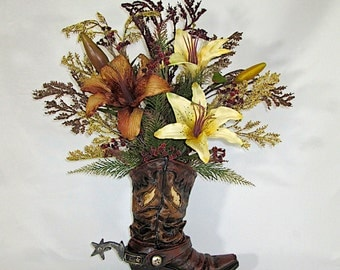 Silk Floral Arrangement, Resin Cowboy Boot Vase with Brown and Ivory Lilies, Silk Flower Arrangement, Rustic Home Decor, Country Home Decor