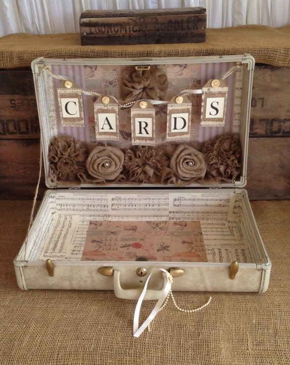 suitcase vintage wedding card box