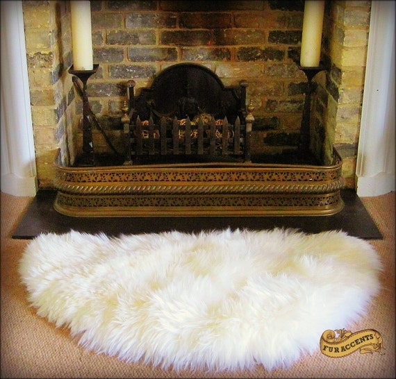 FUR ACCENTS Shaggy Sheepskin Throw Rug / Half Round By