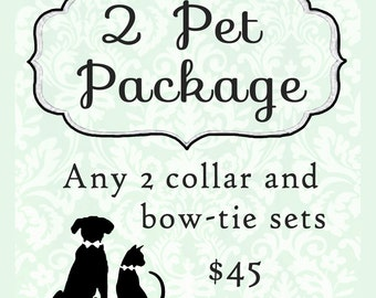 2 dogs bow tie collar sets & cats bow tie collar sets, package, sale, bundle