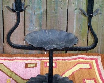 SALE!!  Vintage Brutilist / Gothic Candelabra - Outsider / Folk Art - Torch Cut & Hand Wrought Iron - 40's - Renaissance