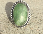 Turquoise ring Vintage southwestern green Navajo Sterling silver Sleeping Beauty. Native American Jewelry outlaw