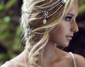 Antique silver crystal and pearl halo.  // style: WINTER CRYSTAL bridal halo, bohemian bridal headpiece
