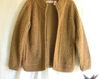 Vintage 1980's Camel Nubby Boucle Ribbed Knit Cardigan Sweater Jacket Size Medium
