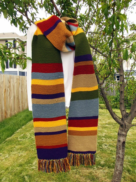 Tom Baker Scarf Knitting Pattern : Doctor Who Scarf Tom Baker Scarf Hand Knit by WibbleWobbleKnits