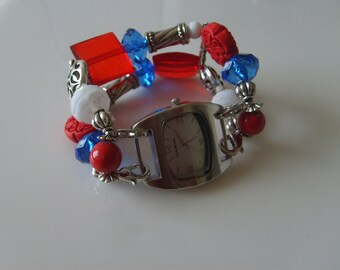 4th of July Double Stranded Interchangeable Red White & Blue Watch Band (135)
