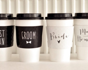 Wedding Party Coffee Sleeves
