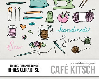 INSTANT DOWNLOAD - Sewing Clipart Set - Hi Res Printable Sewing Doodle Illustrations for Blogs or Scrapbooking