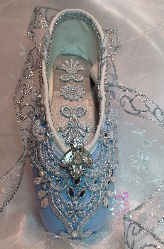 Cinderella themed pale blue and silver decorated pointe shoe for Ballet shoes decoration