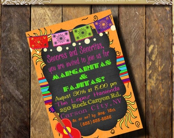 Mexican FIESTA Party Invitation Southwest invitation TEX MEX Invitation Banner Guitar 15th  20th 40th Birthday Shower Pink Orange Pu...