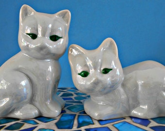 White Lustreware Kitty Cats, Valentines Day Gift, 2 Ceramic Lusterware Cats, Green Eyed Felines, Collectible Gift, Home Decor, Shelf Sitters