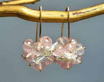 Rose Quartz and Japanese Keshi Pearl Earrings