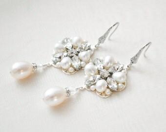 Bridal Earrings Chandelier, Wedding Earrings Chandelier, Freshwater Pearl Bridal Jewelry Pearl, Vintage Style