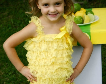 Yellow Lace Romper and Flower Hair Clip - Lace Petti Romper, Birthday Outfit, Flower Girl, Photo Prop, Daisy Hair Clip, Baby Romper