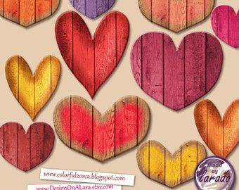 Wooden Hearts clipart, Wooden Texture Digital Clip Art, Colorful Valentines Hearts, wooden valentine hearts, wood hearts digital clip art